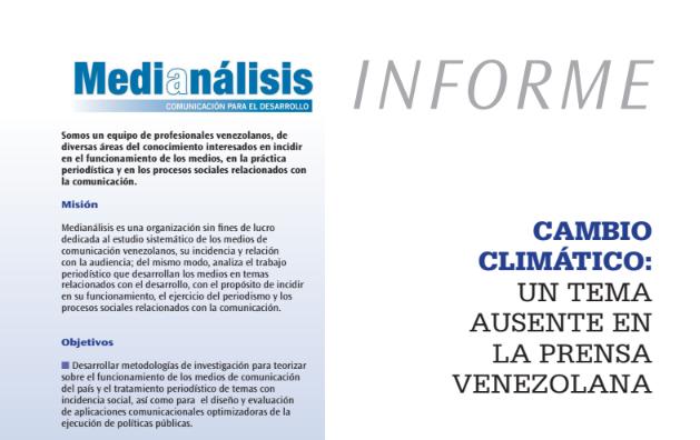 CAMBIO CLIMÁTICO: UN TEMA AUSENTE EN LA PRENSA VENEZOLANA